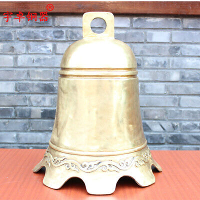 20'' China Glossy Surface Bell Carve Pattern Bronze Statue