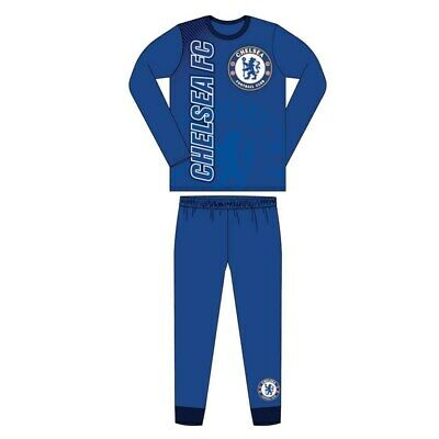 Boys Official Chelsea FC Pyjamas Size Age 4-12 Years Blue Kids NEW