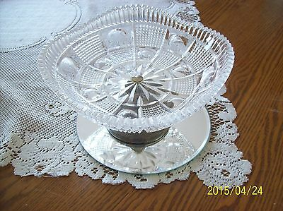 Crystal Vintage Saw Tooth Compote Western Germany Metal Base Ornate Cut Glass