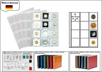 5 x look 1-7400 Coin Sheets Premium 12x 50 mm for Lighthouse Quadrum Capsules