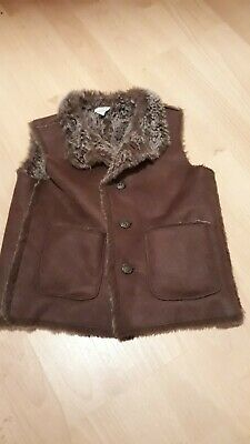 Size age  3 to 4 Monsoon Girls Brown faux Fur Gilet faux suede warm winter     A