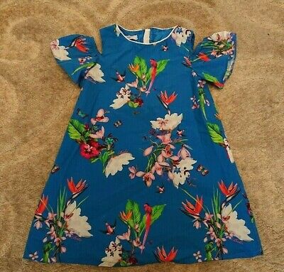 Girls Ted Baker blue floral dress age 4-5 years *excellent*