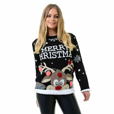 Unisex Women Ladies Merry Christmas Multi Pom Santa Rudolph  Xmas Jumper Sweater