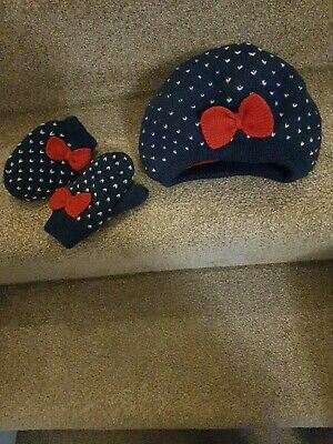 """BABY TODDLER GIRLS /""""EX ADAMS KIDS/"""" RUSSIAN STYLE HAT WITH MITTENS SET WINTER HAT"""