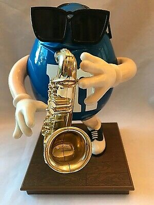 M&M's Candy Dispenser Blue with Sax Saxophone and Sunglasses, Great Condition!