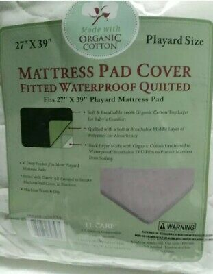 New TL Care Waterproof Playard Mattress Pad Cover made with Organic Cotton E2