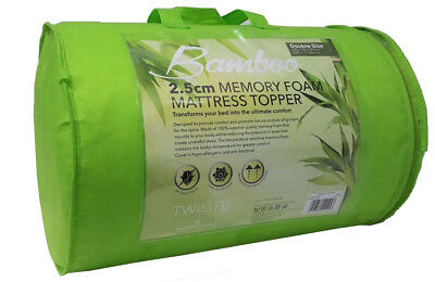 "New Bamboo Memory Foam Mattress Topper Soft 1"" Single Double King Pillow"