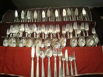 Antique Cohr Danish 925 Sterling Silver 102 pc 10 Settings nearly 12 silverware