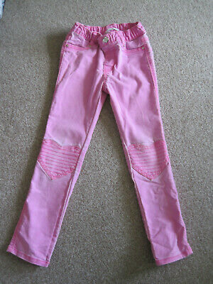 H&M girls 5-6 years pink jean trousers pink heart knees