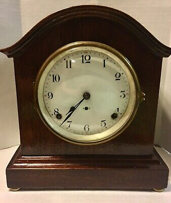 Seth Thomas Antique Mantel Clock Mechanical Movement With Key WORKS! FREE SHIP!