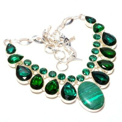 925 2.00ct Russian Diopside Triple Halo Drop Pendant Necklace Sterling Silver