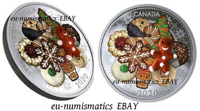 Canada 2020 $20 Holiday Cookies Murano Glass Silver Coin  Santa Christmas Eve 7""