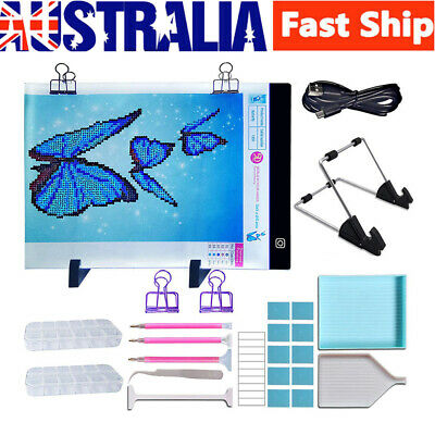 A4 LED Light Pad Board W/ Stand Holder+5D Diamond Painting Embroidery Tools Kit