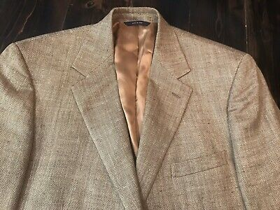 Mens Blazer 43 R Brooks Brothers 2 Buttons Tan Silk Wool Linen Sport Coat Jacket