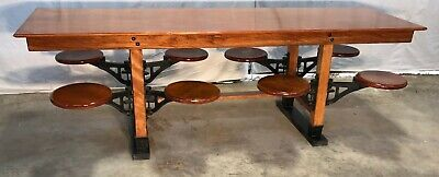 Rare 8' Antique Industrial Lunchroom Table, 8 Cast Iron Swing out Seats / Stools