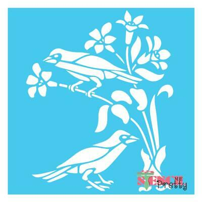 Curious Birds and Flowers Stencil