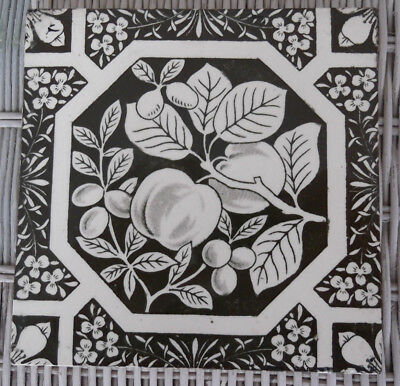 """Antique Aesthetic Period English Dk Brown Transferware 6"""" Tile w/Fruit - Booth"""