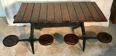 Rare very old Industrial Cast Iron frame Table with 7 Swing Out Seats / Stools
