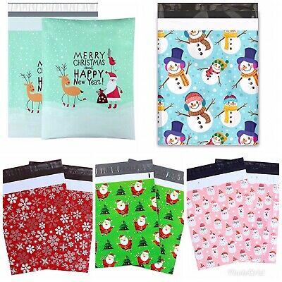 10x13 Poly Mailers Designer HOLIDAY CHRISTMAS Self Adhesive Shipping Bags 100ct