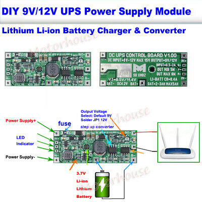 Mini DC 12V UPS Power Supply Converter Module For Lithium 18650 Battery Charger