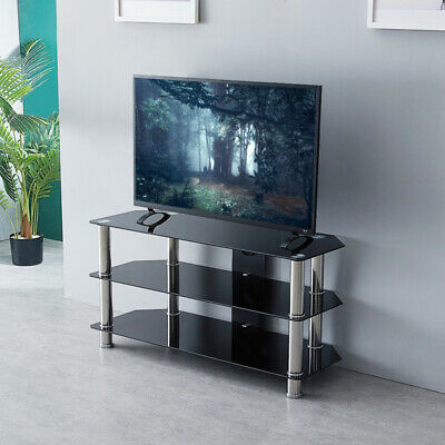 3 Tier Black Glass TV Stand Bracket For 32''-55'' Plasma LCD/LED TV Unit Home