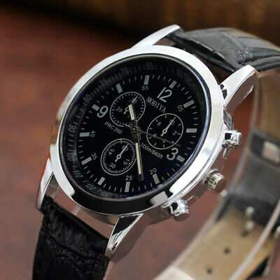 Business Men's Leather Military Casual Analog Quartz Wrist Watch Watches Gifts