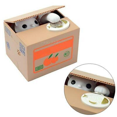 Automatic Cute Kitty Cat Stealing Coin Piggy Bank Money Saving Box For Kids Gift