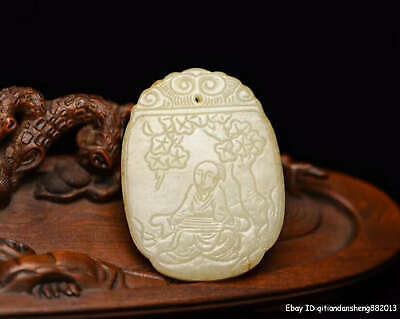 6.4cm China natural Old HeTian Jade Hand-carved character Pendant Amulet QWSB