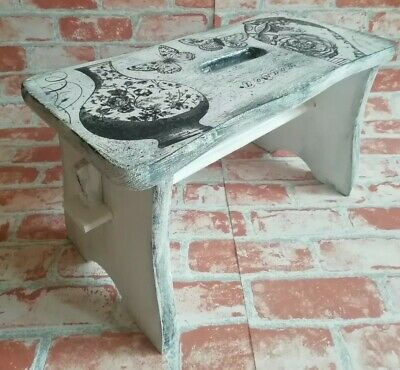 Small Pine Wood Step Stool Wooden Chair Shabby Chic hand  painted decoupage nice