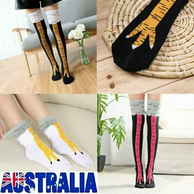 Womens Novelty Funny 3D Chicken Leg Socks High Cartoon Animals Thigh Stocking UE
