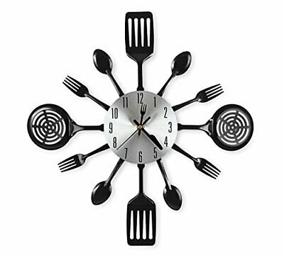 CIGERA 16 Inch Large Kitchen Wall Clocks with Spoons and Forks,Great Home Decor