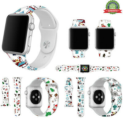 Replacement Christmas silicon Wrist Sport Band Strap For Apple Watch Series5 4 3