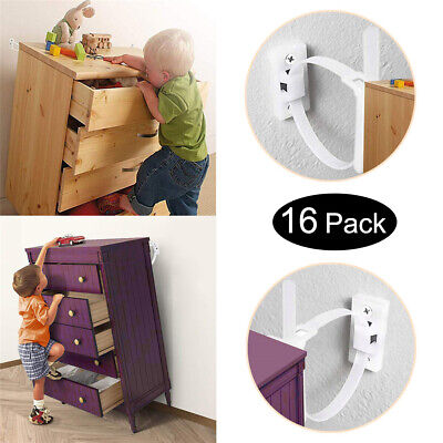 16 Sets Anti Tip Strap Furniture Brackets Baby Child Kids Safety Wall Straps