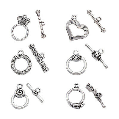 15Sets Tibetan silver ring Toggle Clasps h1094