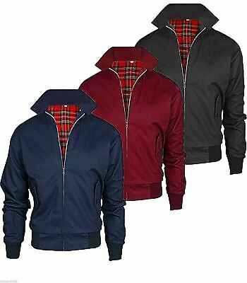 Harrington Mens Jacket Classic Retro Zip Jacket Vintage Coat Mod Bomber