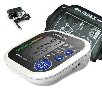 New Digital Electronic Blood Pressure Monitor Upper Arm large Cuff AC Adapter!!