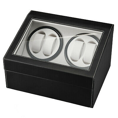 Black 4 6 Automatic Rotation Leather Wood Watch Winder Storage Display Case Box