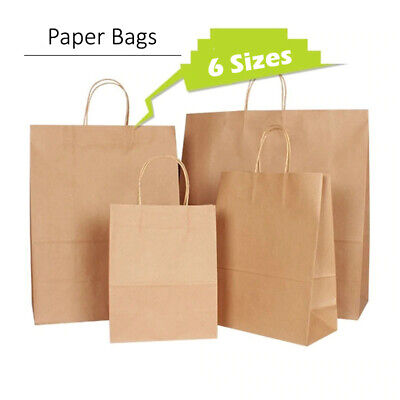 50 Brown Twist Handle Paper Party and Gift Carrier Bag / Bags Rope Handles With