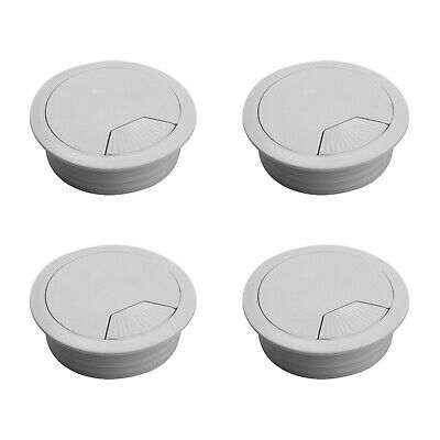 60mm Sets of White PC Plastic Covers Cables Wires Office Desk Computer Grommet