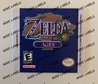 The Legend Of Zelda Oracle Of Ages Game Boy Cartridge Replacement Game Label