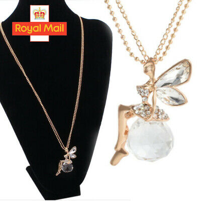 Fashion Women Crystal Fairy Angel Wing Pendant Long Chain Necklace Jewelry Gift