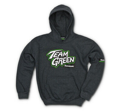 Kawasaki Youth Team Green Hooded Sweatshirt - Size YLG - Genuine Kawasaki - New