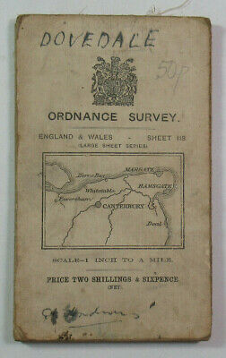 1913 Old OS Ordnance Survey One-inch Third Edition Map 118 Canterbury & Margate