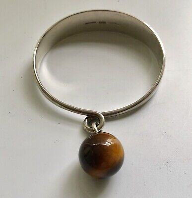 RARE Hans Hansen Denmark Sterling Silver Bracelet with Tiger's Eye