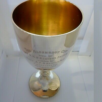 A large solid silver trophy goblet with knopped stem, London, 1916