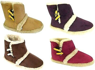 Womens Slippers Ladies Coolers Slip On Warm Fur Lined Slipper Boots Booties