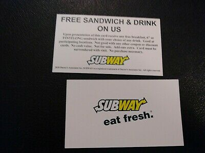 Subway Free Sandwich & Drink Voucher, NO EXPIRATION, Shipping 1 Business Day