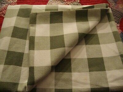 "Vintage Green & White Checked Large Banquet Country-Style Tablecloth 82x52""  226"