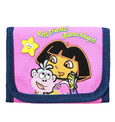 Nickelodeon Dora the Explorer with Boots Velcro Trifold Wallet for Girls