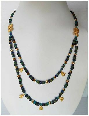 Collier Roman in Beads Glass and Gold - 400 ad - Roman Glass and Gold Necklace